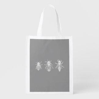 1800s de los insectos de la antigüedad del blanco bolsa reutilizable