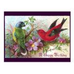1800s de los pájaros del cumpleaños postal