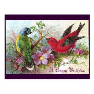1800s de los pájaros del cumpleaños tarjeta postal