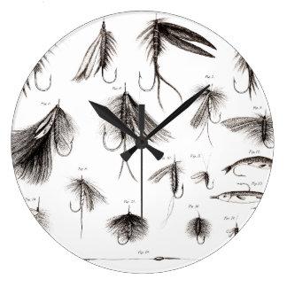 1800s del vintage que pescan señuelo de las moscas reloj redondo grande