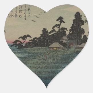 1800's Japanese Art Heart Sticker