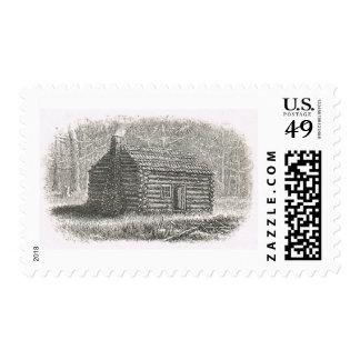 1800s log cabin engraving postage