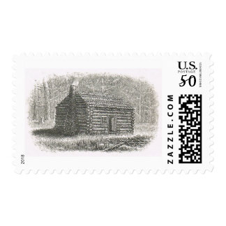 1800s log cabin engraving postage