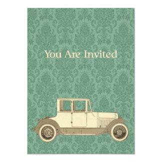 1800's Vintage Car Illustration Custom Invite