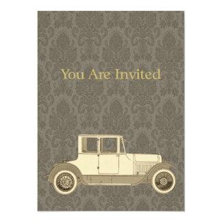 1800's Vintage Car Illustration Custom Invitations