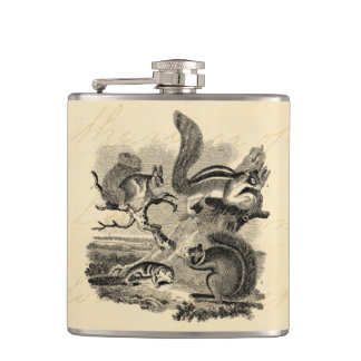 1800s Vintage Squirrels Illustration - Squirrel Flask