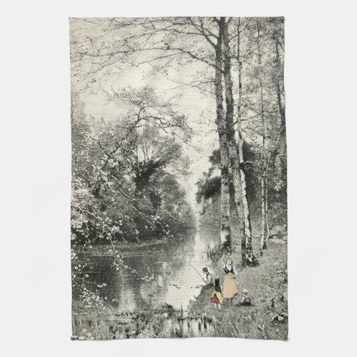 1800s Waldbache Munthe del arte del vintage del bo Toalla De Mano