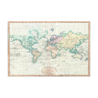 1801 Cary Map of the World / 36x24 Canvas