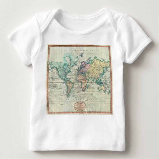 1801 Cary Map of the World on Mercator Projection Baby T-Shirt