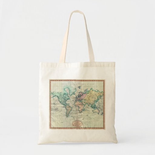 1801 Cary Map of the World on Mercator Projection Canvas Bag
