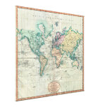 1801 Cary Map of the World on Mercator Projection Canvas Print