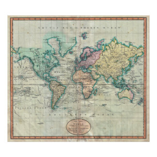 1801 Cary Map of the World on Mercator Projection Print