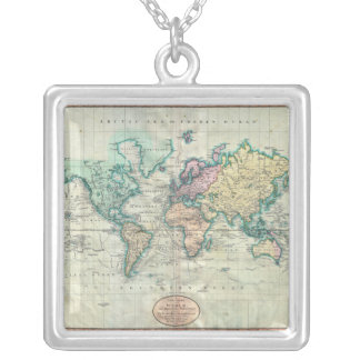 1801 Cary Map of the World on Mercator Projection Silver Plated Necklace
