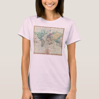 1801 Cary Map of the World on Mercator Projection T-Shirt