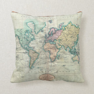 1801 Cary Map of the World on Mercator Projection Throw Pillow