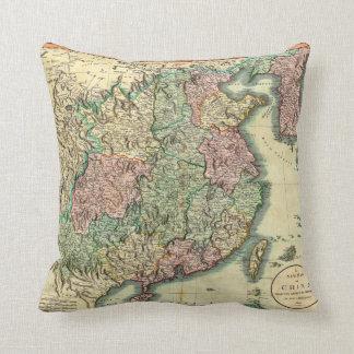 1801 John Cary Map of China and Korea Throw Pillows