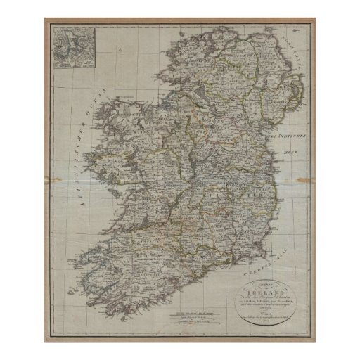 "1804 Map of Ireland (40""x47"") Poster"