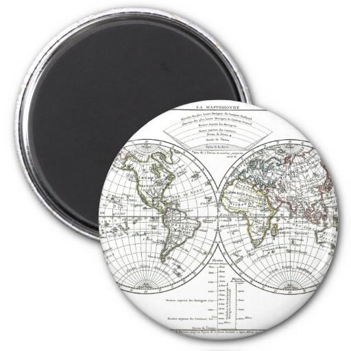 1806 Atlas Map: La Mappemonde by Eustache Hérisson 2 Inch Round Magnet