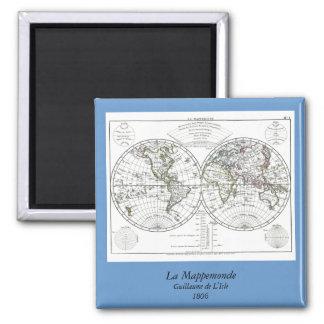 1806 Atlas Map: La Mappemonde by Eustache Hérisson 2 Inch Square Magnet