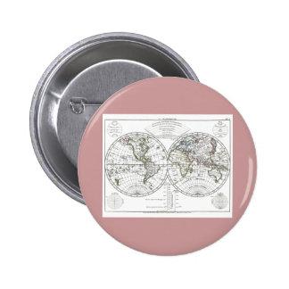 1806 Atlas Map: La Mappemonde by Eustache Hérisson Button