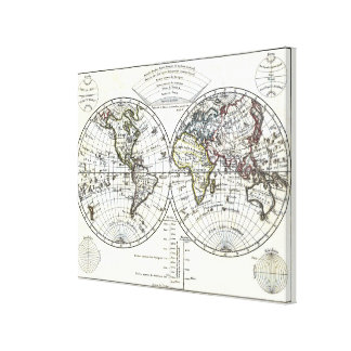 1806 Atlas Map: La Mappemonde by Eustache Hérisson Canvas Print