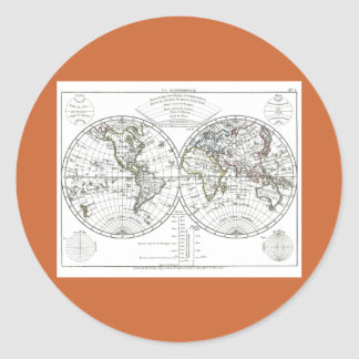 1806 Atlas Map: La Mappemonde by Eustache Hérisson Classic Round Sticker