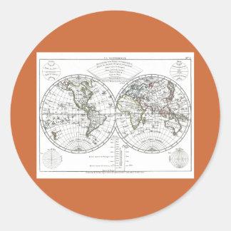 1806 Atlas Map: La Mappemonde by Eustache Hérisson Classic Round Sticker