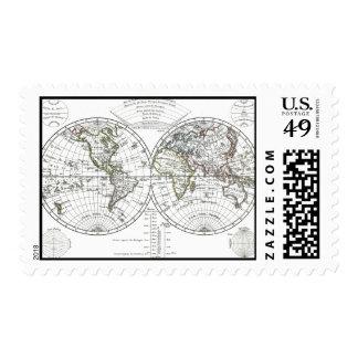 1806 Atlas Map: La Mappemonde by Eustache Hérisson Postage Stamp