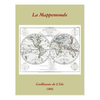 1806 Atlas Map: La Mappemonde by Eustache Hérisson Postcard