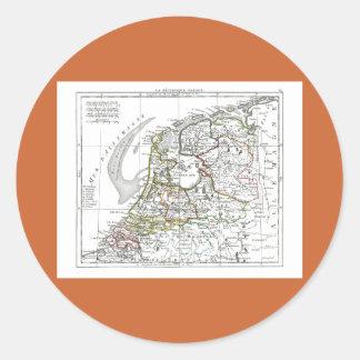 1806 Map - La Republique Batave Classic Round Sticker