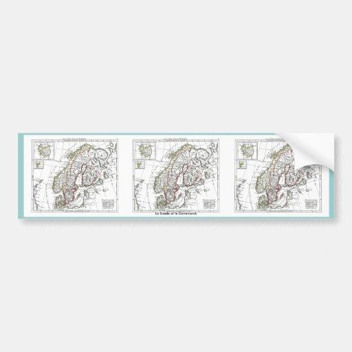 1806 Map - La Suede at le Danemarck Bumper Sticker