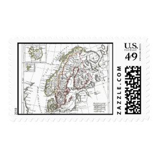 1806 Map - La Suede at le Danemarck Postage Stamps