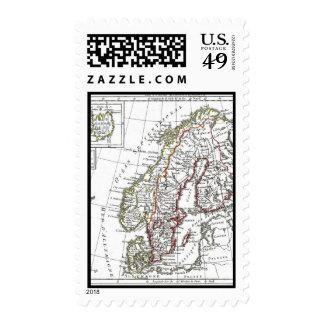 1806 Map - La Suede at le Danemarck Stamps