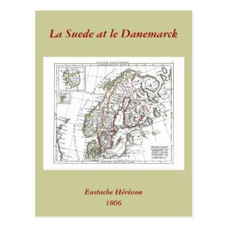 1806 Map - La Suede at le Danemarck Postcard