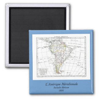 1806 Map - L'Amérique Méridionale 2 Inch Square Magnet