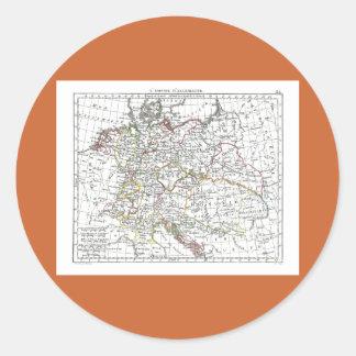 1806 Map - L'Empire d'Allemagne Classic Round Sticker