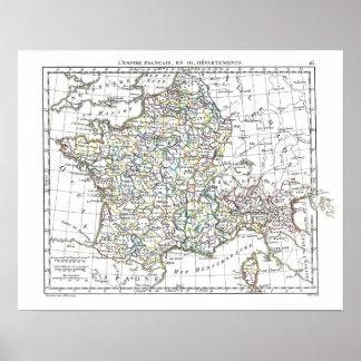 1806 Map - L'Empire Francais en 111 Departements Poster