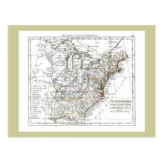 1806 Map - Les Etats Unis d Amrique Post Card