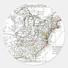 1806 Map - Les Etats Unis d'Amrique Classic Round Sticker