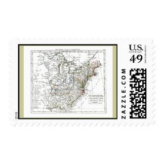 1806 Map - Les Etats Unis d'Amrique Stamps