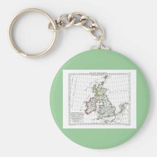 1806 Map - Les Isles Britanniques Keychain