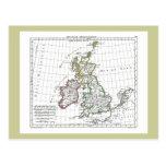 1806 Map - Les Isles Britanniques Post Card