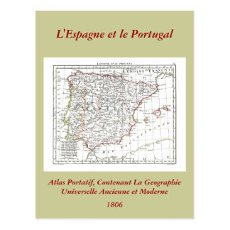 1806 Map - L'Espagne et le Portugal Postcard
