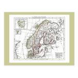 1806 mapa - ante del La en le Danemarck Tarjetas Postales