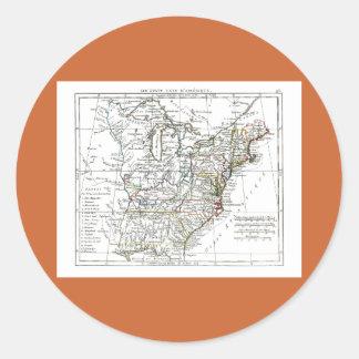 1806 mapa - d'Amrique de Les Etats Unis Pegatina Redonda