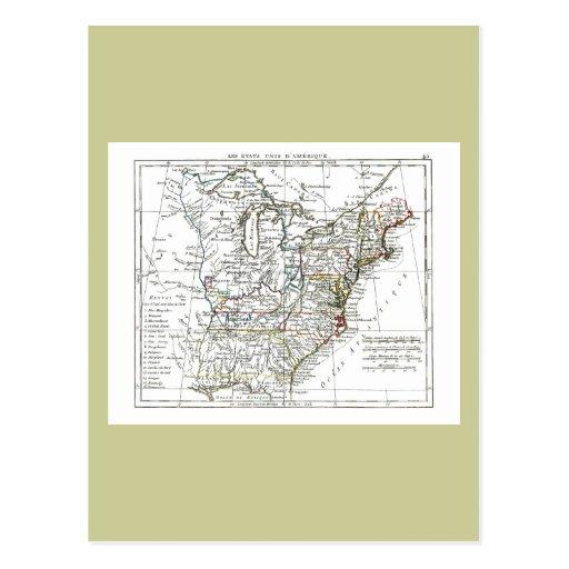 1806 mapa - d'Amrique de Les Etats Unis Postal