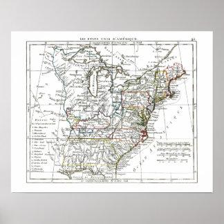 1806 mapa - d'Amrique de Les Etats Unis Póster
