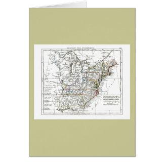 1806 mapa - d'Amrique de Les Etats Unis Tarjeta De Felicitación