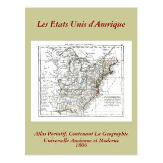 1806 mapa - d'Amrique de Les Etats Unis Postales