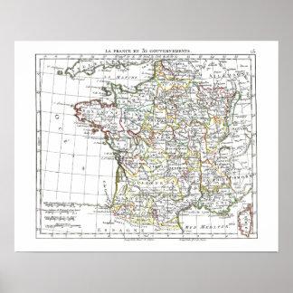 1806 mapa - en 32 Gouvernements de Francia del La Poster